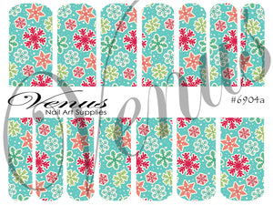 #6904a Snowflakes - 04 Blue (Clear/White)