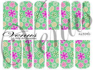#6904b Snowflakes - 04 Green (Clear/White)