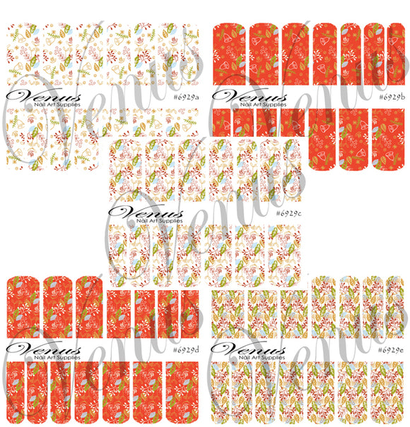 #6929 Christmas Florals SET OF 5 (Clear/White)
