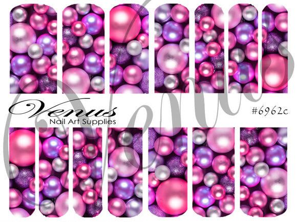 #6962c Baubles - Purple (Clear/White)