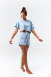 BE WYSE Crop Shirt - smokey blue