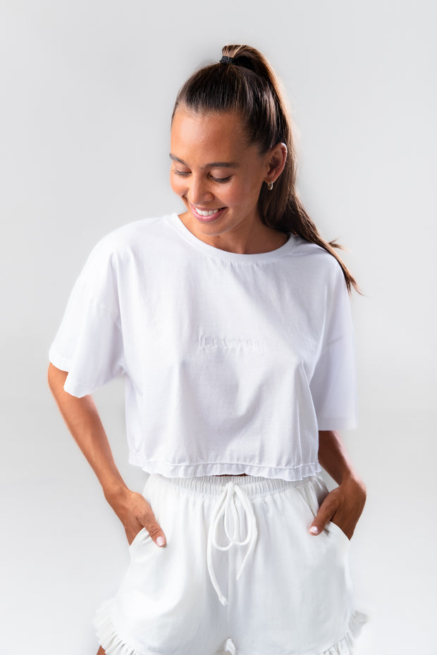BE WYSE Crop Shirt - white
