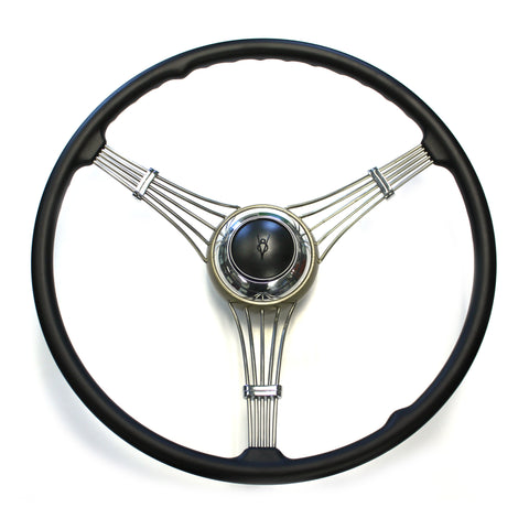 Banjo Steering Wheel 1937-1939 With Black V8 Embossed Horn Assembly (sorry out of stock at present time)