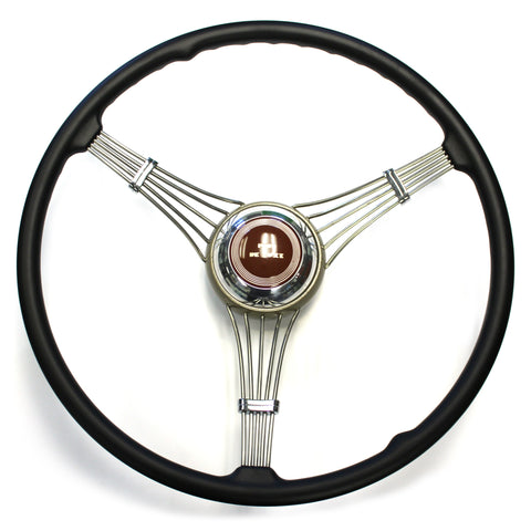 Banjo Steering Wheel 1937-1939 With Brown Deluxe Script Horn Assembly (sorry out of stock at present time)