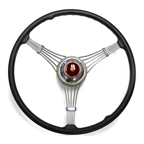 Banjo Steering Wheel 1937-1939 With Maroon V8 Script Horn Assembly (sorry out of stock at present time)