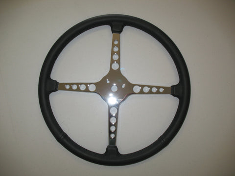 Sprint Style Steering Wheel 4 Spoke Leather Wrapped With Holes(inc. horn cap pieces)