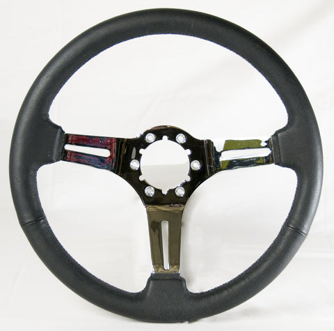 "ON SALE - Black leather/chrome steering wheel with middle, 14"" diameter, 6 bolt"