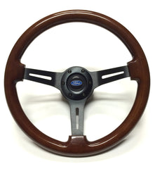"ON SALE - dark wood/black, 14"", 6 bolt steering wheel with middle"