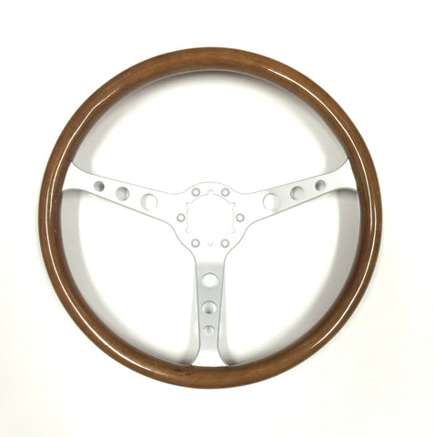 "6 bolt steering wheel and middle  15"", wooden/satin includes satin middle"