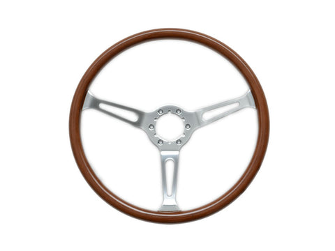 "6 bolt steering wheel and middle, 15"" diameter  wooden and chrome. PRICE INCLUDES HORN MIDDLE"