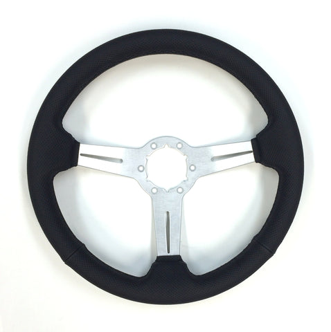 "ON SALE  - Perforated leather/brushed, 14"" steering wheel with middle, 6 bolt"