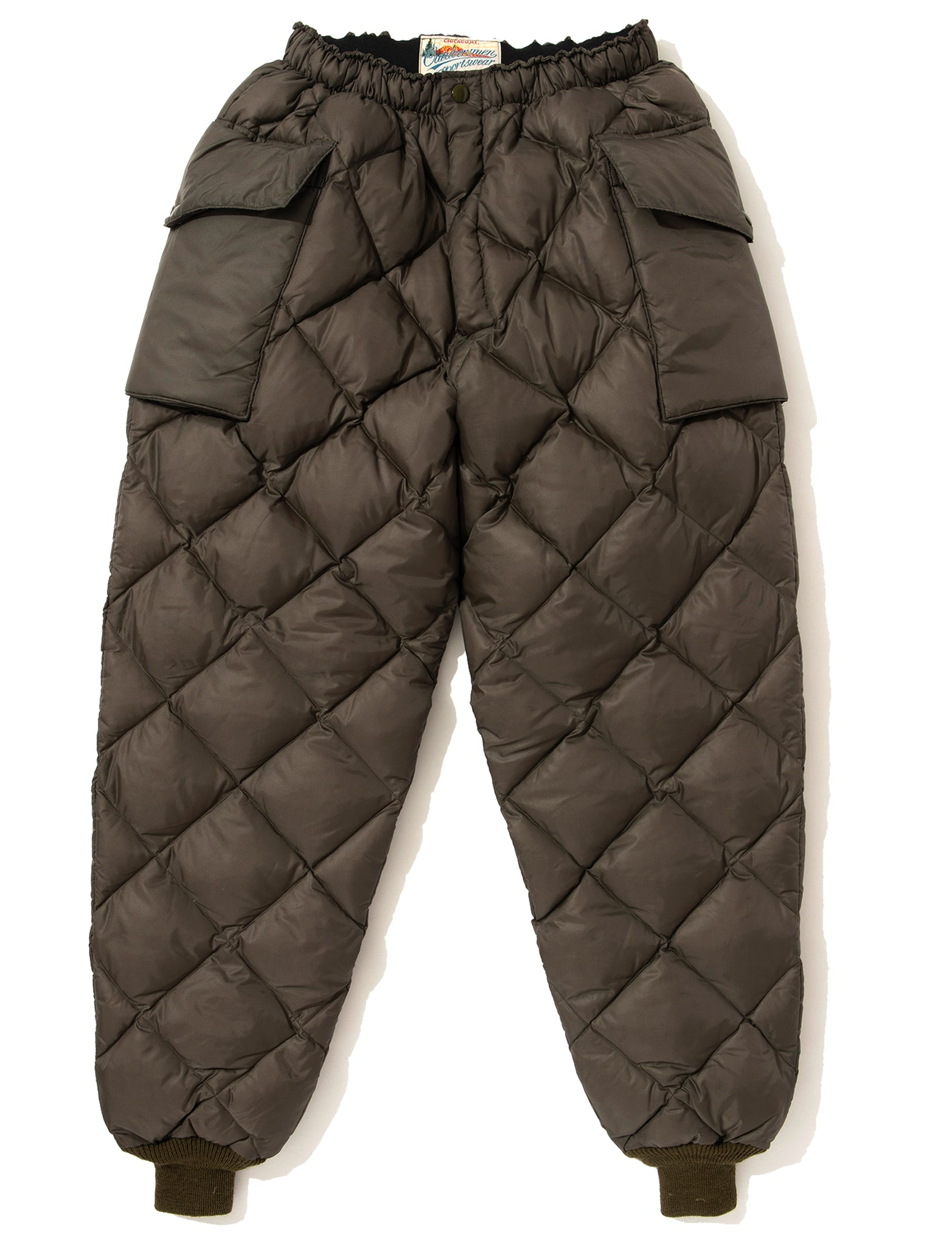 NYLON QUILTED DOWN TROUSERS