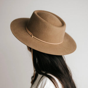 Wren Flat Brim Telescope Crown Hat - Brown