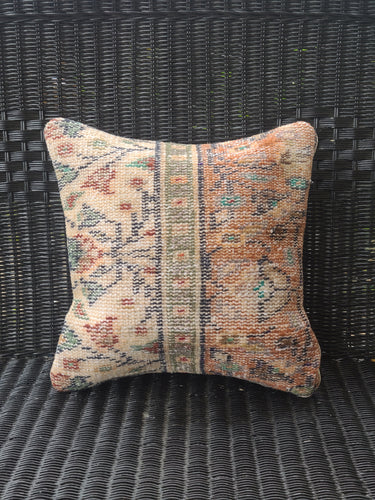 14 x 14 Vintage Embroidered Pillow Orange Split