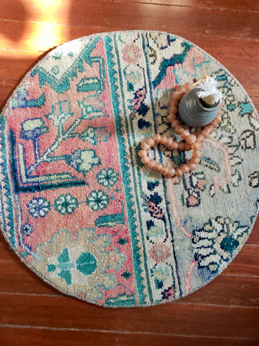 Sally - Vintage Round Tiny Turkish Rug