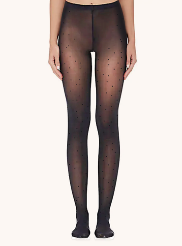 Mini Polka Dots Sheer Italian Tights - Black