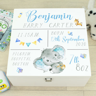 Elephant Baby Birth Stats Wooden Keepsake Memory Box