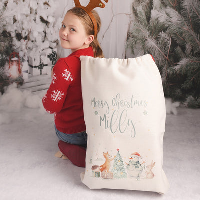 Personalised Winter Animals Christmas Gift Sack
