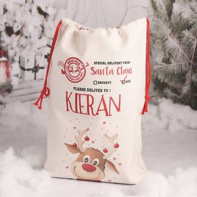 Personalised Rudolph Christmas Gift Sack