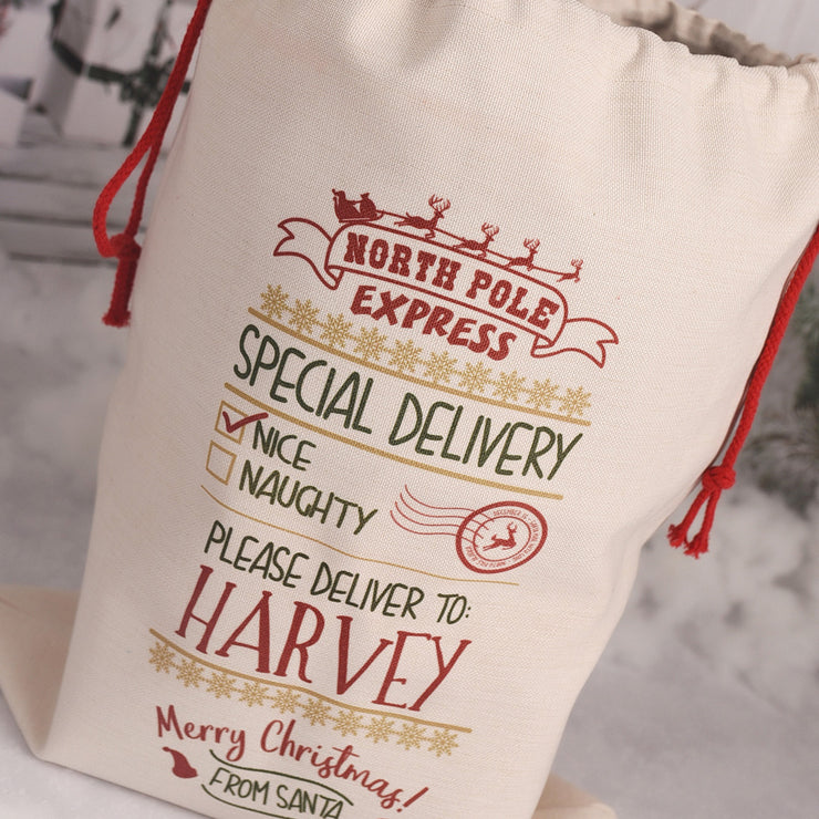 Personalised North Pole Express Christmas Gift Sack