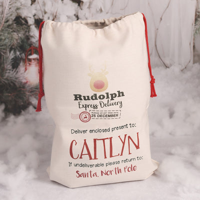 Personalised Reindeer Express Christmas Gift Sack