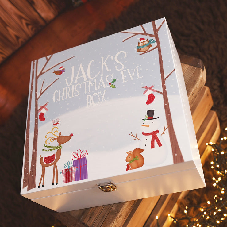 Personalised Snowy Forest Wooden Christmas Eve Box