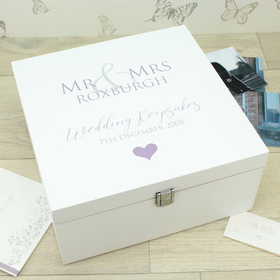 Mr & Mrs Wooden Keepsake Memory Box