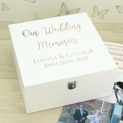 Rose Gold Wooden Keepsake Memory Box