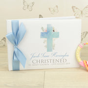 Watercolour Cross Christening Guest Book