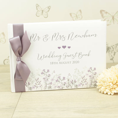 Personalised Forget-me-Not Wedding Guest Book