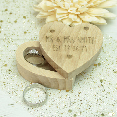 Wooden Mr & Mrs Heart Wedding Ring Box