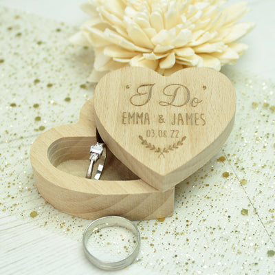 Wooden 'I Do' Heart Wedding Ring Box