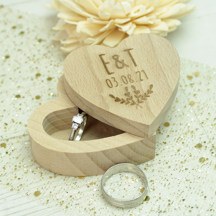 Rustic Wooden Heart Wedding Ring Box
