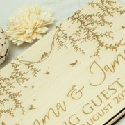 Wooden Engraved Birds Wedding Guest Book