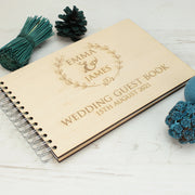 Wooden Engraved Floral Wreath Wedding Guest Book