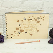 Wooden Engraved Hearts Wedding Guest Book