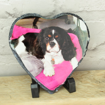 Personalised Photo Heart Rock Slate with Stand