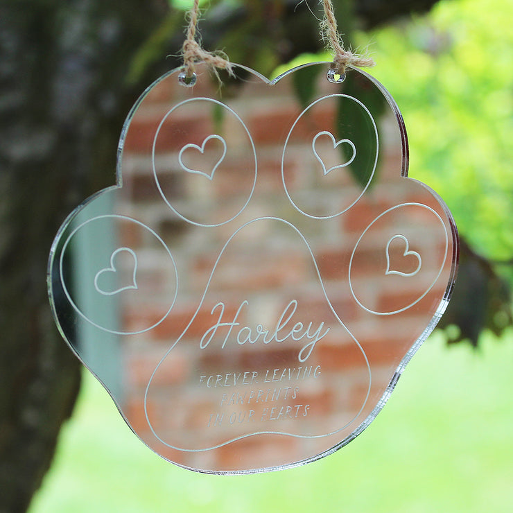 Personalised Paw Print Mirror Remembrance Keepsake