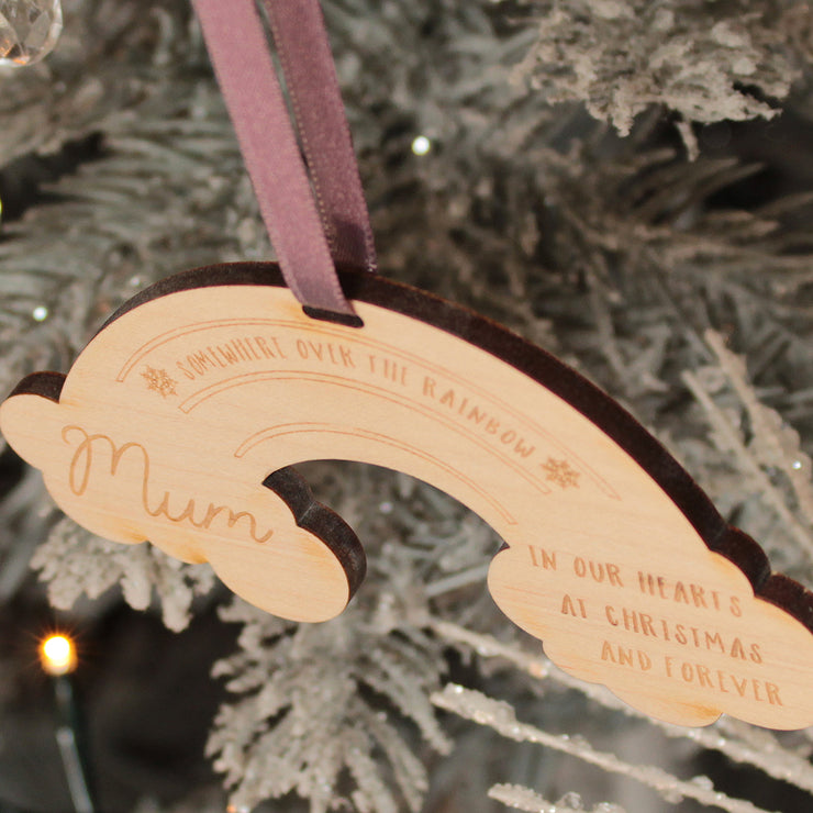 Personalised Rainbow Memorial Wooden Christmas Decoration