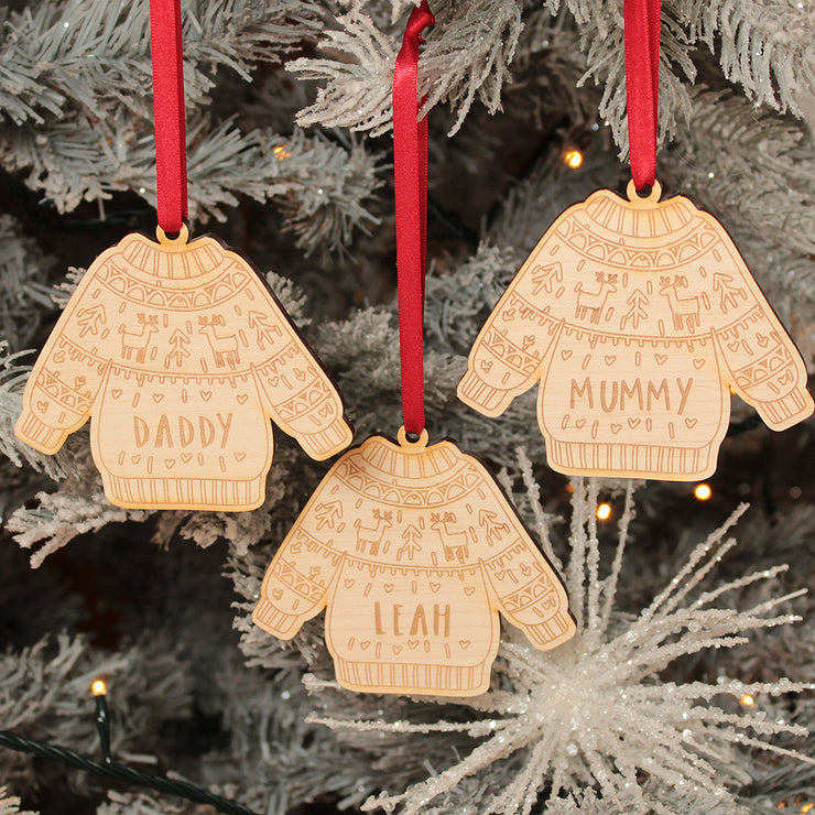 Christmas Jumper Family Wooden Christmas Decoration
