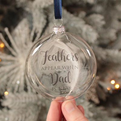 Glass Feathers Appear Memorial Christmas Bauble