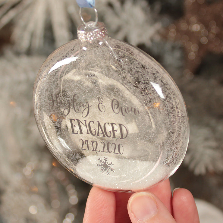 Glass Engagement Christmas Bauble