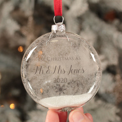 Glass 1st Christmas Married Christmas Bauble