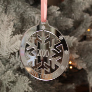 Baby's 1st Christmas Snowflake Mirror Decoration