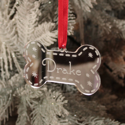 Pet Dog Bone Mirror Christmas Decoration