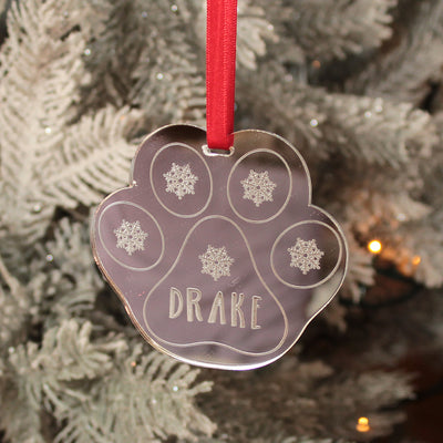 Pet Paw Print Mirror Christmas Decoration