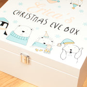 Personalised Cute Winter Animals Wooden Christmas Eve Box