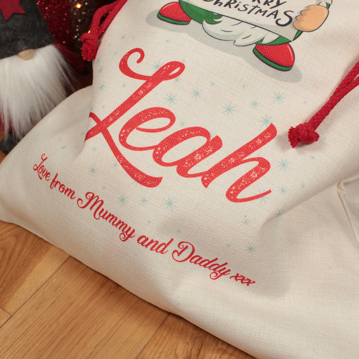 Personalised Gnome Christmas Gift Sack