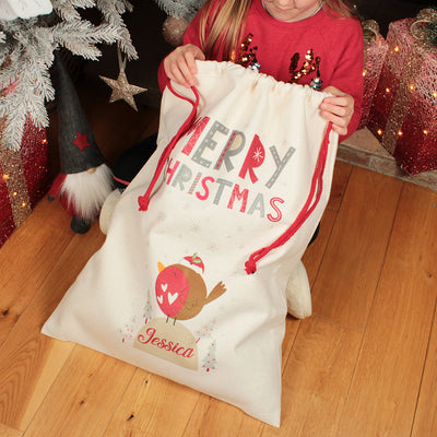 Personalised Robin Christmas Gift Sack