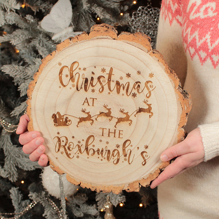 Family Christmas Wood Slice Decoration